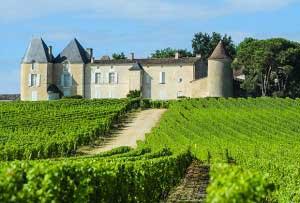 Le Chateau d'Yquem et son vignoble, dans le bordelais